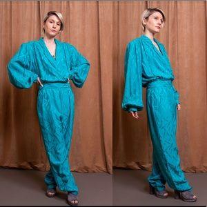 Vintage 80s teal blue abstract silk avant jumpsuit